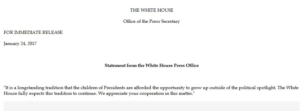 White House releases statement on privacy for children of the president; follows reports involving Pres. Trump's youngest son, Barron.