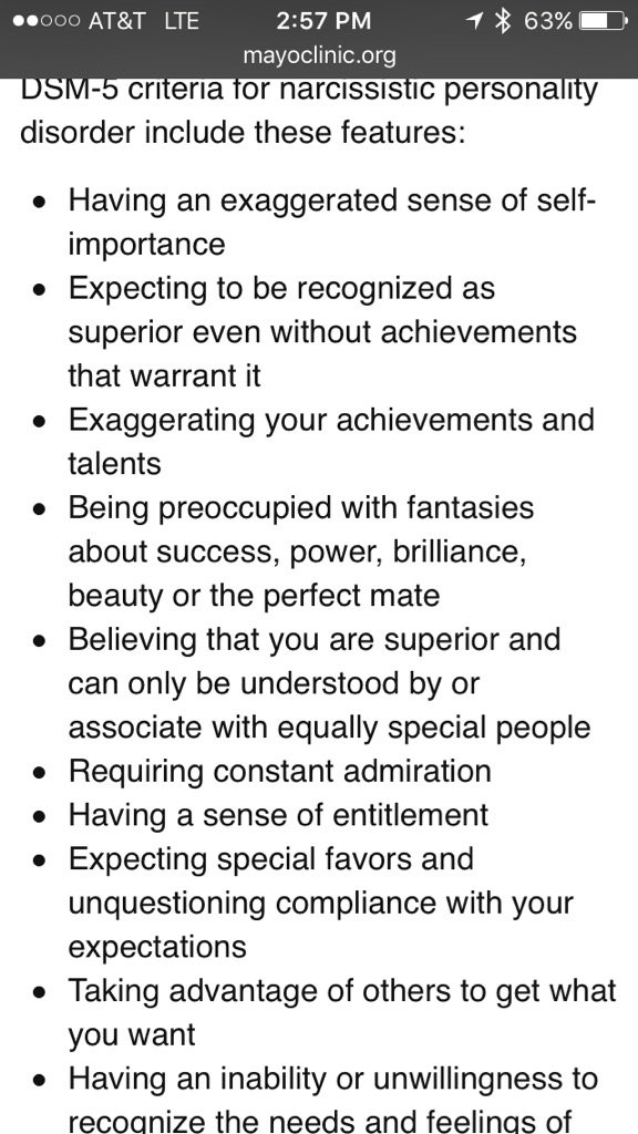 For the first time, I read the section of DSM-V describing Narcissistic Personality Disorder. Strangely familiar. https://t.co/7AcRa92SBo