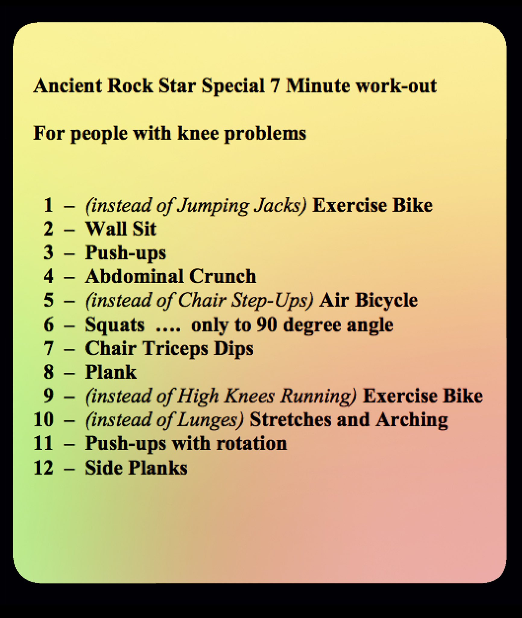 My plan for knee friendly 7 Minute Workout ---- For details see Bri's ol' Soapbox at https://t.co/3CRchzov6L Bri https://t.co/5nMR9PJYiw