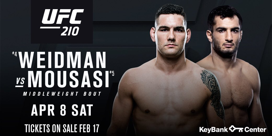 BREAKING: @ChrisWeidmanUFC vs @Mousasi_MMA booked for #UFC210 in Buffalo ➡️ https://t.co/qvoA7lUmav https://t.co/CMBxC9WQBr