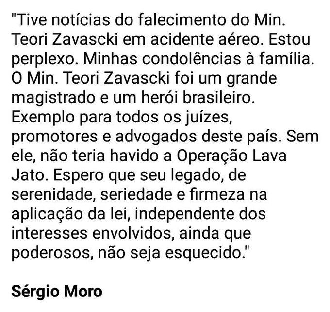 Sem Teori Zavascki não haveria Lava Jato, diz Sérgio Moro em nota de pesar: