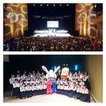 コンサート模様と閉幕直後の集合写真。黒崎中央小学校の皆さんの合唱素晴らしかった!おしりかじり虫とハレピョンも来てくれまし