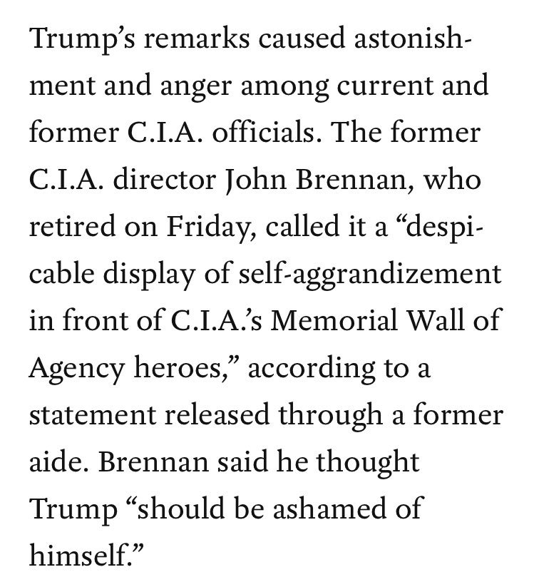 Trump tells ABC his speech at the CIA memorial wall 'was a home run.' Current and former officials were appalled by his remarks there.