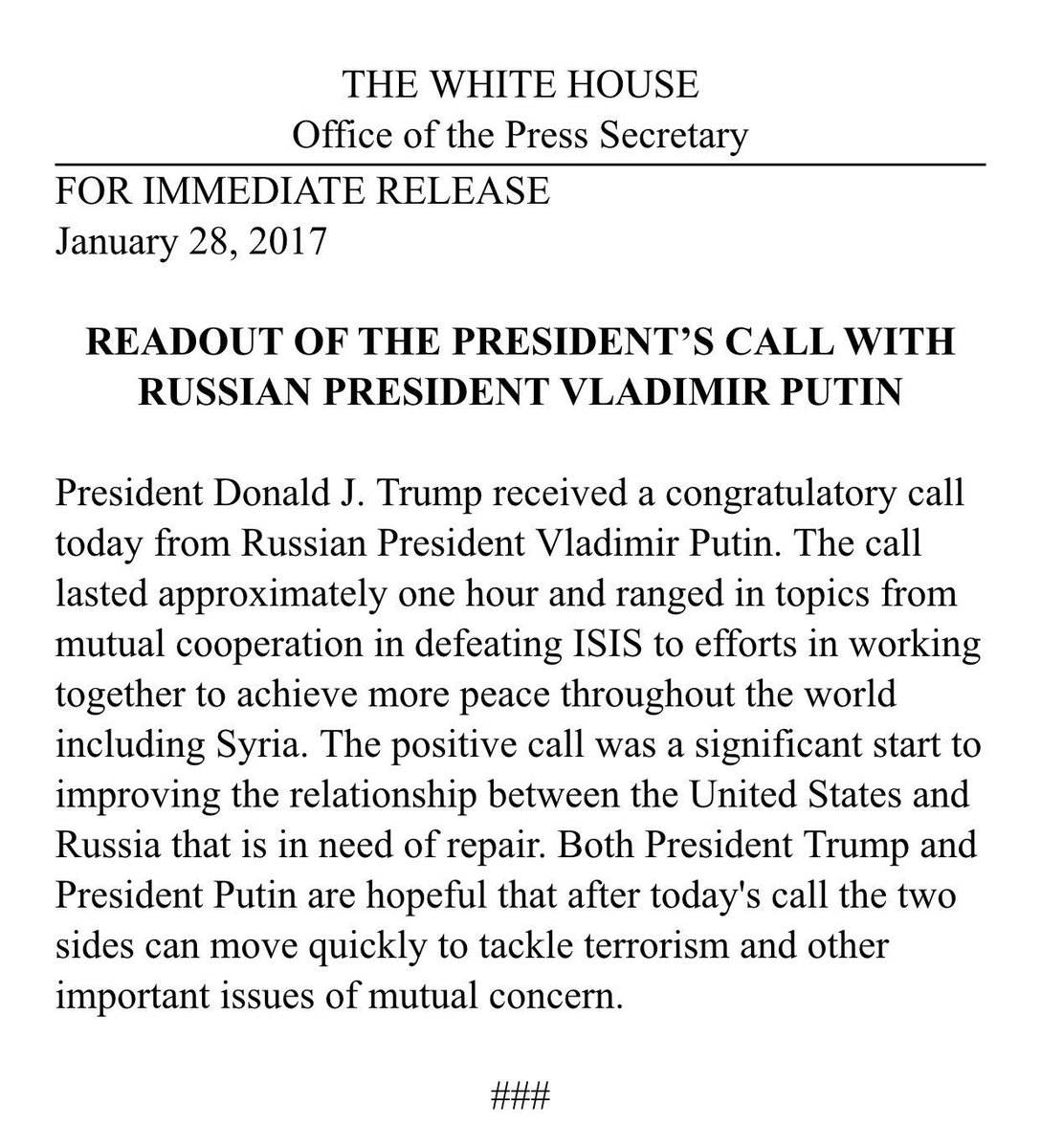 readout from white house of trump putin one hour phone call