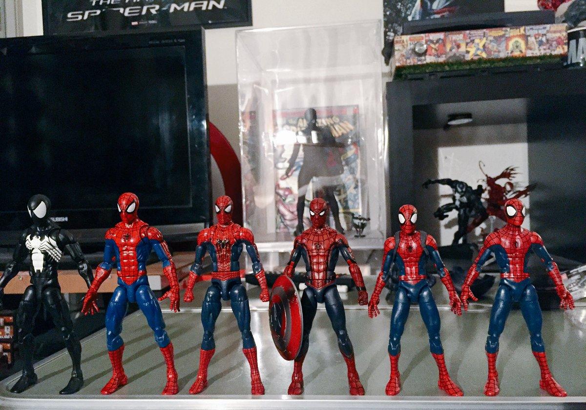左からブラックスパイダーマンピザスパイダーマン(心臓部)アメイジングスパイダーマンシビルウォースパイダーマンアルティメッ