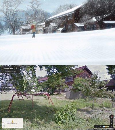 『亜人ちゃんは語りたい』第5話。回想シーンで描かれていた幼い頃の日下部雪が通っていた小学校のモデルは、喜多方市岩月夢想館