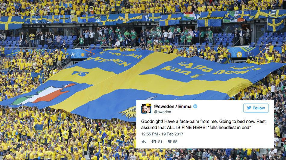 Internet turns to @Sweden on Twitter after Trump appears to invent terror attack
