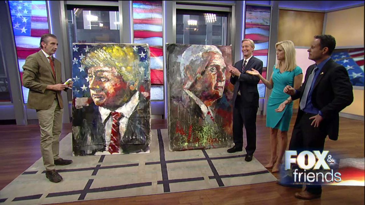 Artist Steve Penley paints President #DonaldTrump and Vice President #MikePence on the set of @foxandfriends. #PresidentsDay