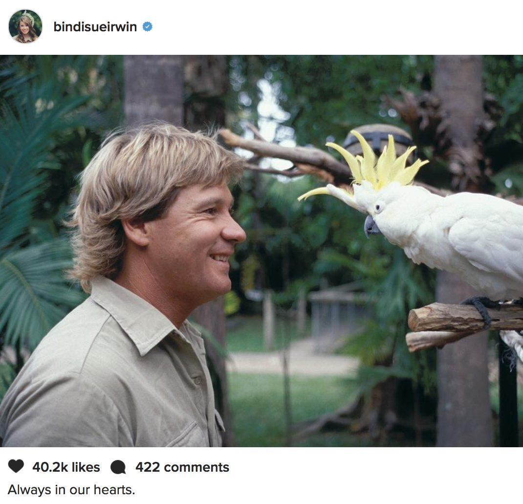 Bindi Irwin posts tribute to late father Steve on what would have been his 55th birthday. 'Always in our hearts.' https://t.co/GbOIRM8nHJ