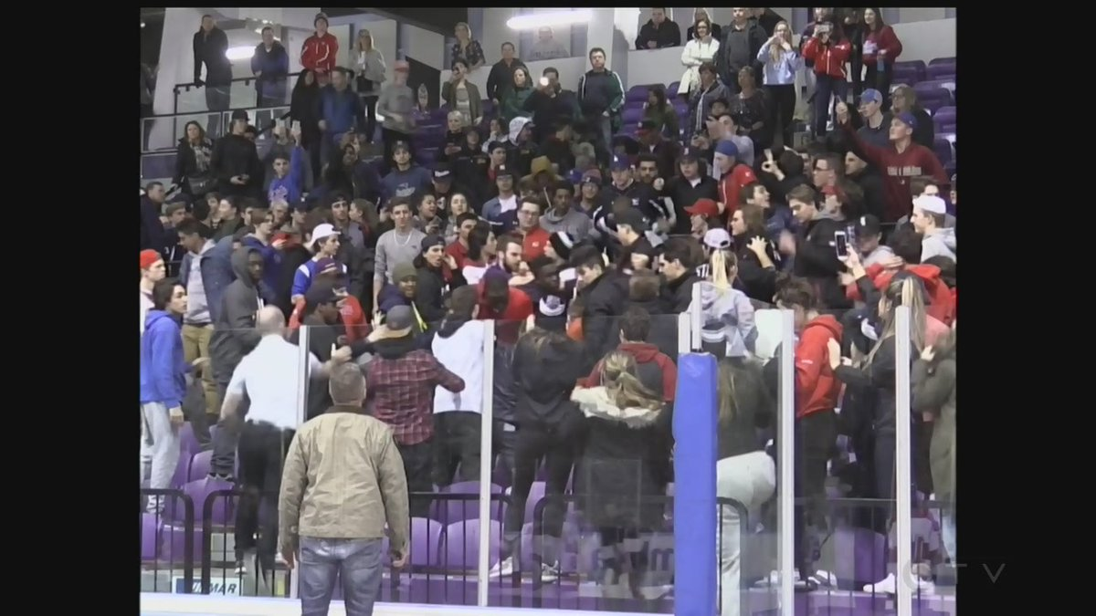 Fights break out at student hockey championship game