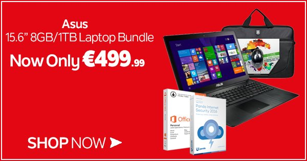 "Get the Asus 15.6"" 8GB/1TB Laptop Bundle for only €499.99! Shop online or in store now - https://t.co/O44NjbrZ0e https://t.co/az2nqsVOvY"