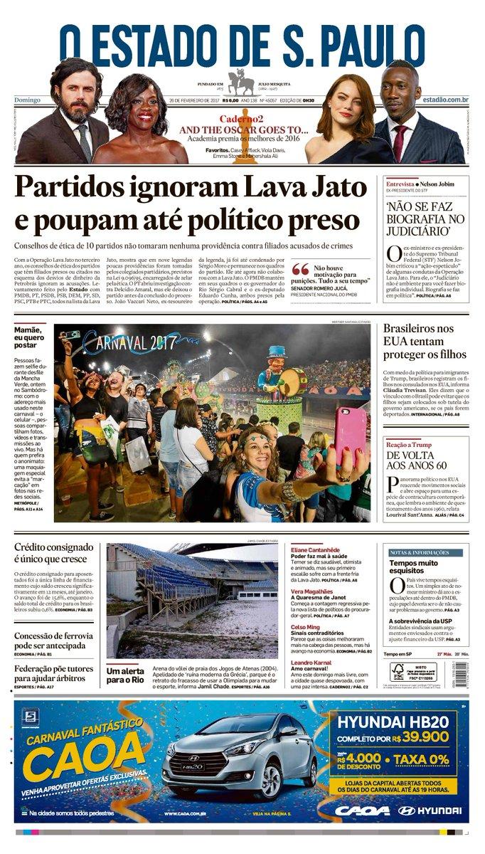 CAPA: 'Partidos ignoram Lava Jato e poupam até político preso'. Veja mais em: https://t.co/k5WUpa0uQE #estadao