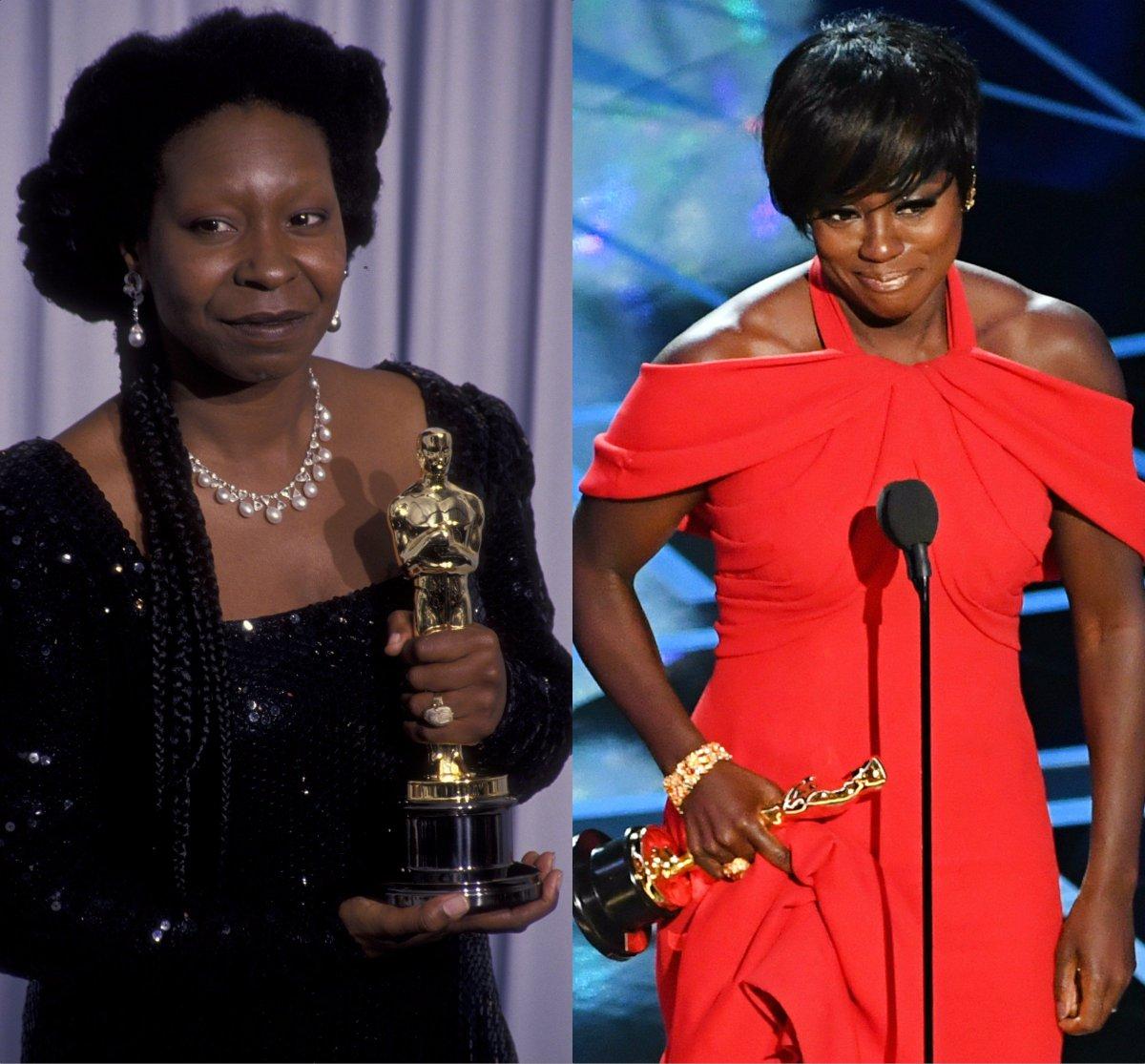 .@violadavis joins @WhoopiGoldberg as the only Black actresses to win an Oscar, a Tony and an Emmy Award. #BlackGirlMagic #Oscars