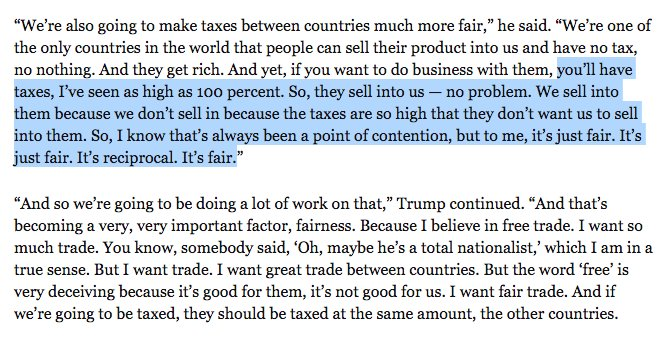 Trump's comments on trade are baffling.   He says other countries' tariffs are the problem. And yet, #TPP would have axed those tariffs...