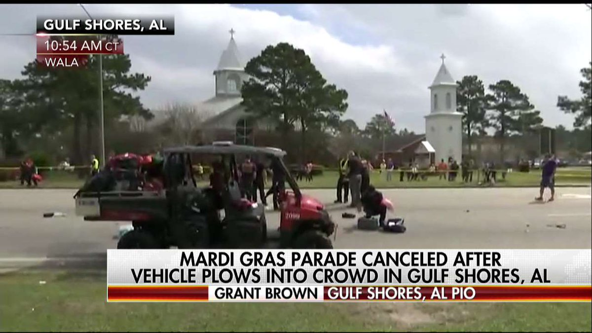 Vehicle plows into Gulf Shores, Ala., Mardi Gras parade; nearly a dozen people injured.