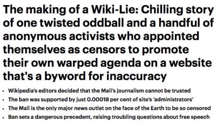 Wikipedia banning the Mail is just kind of funny, I'm sure they won't overreac-
