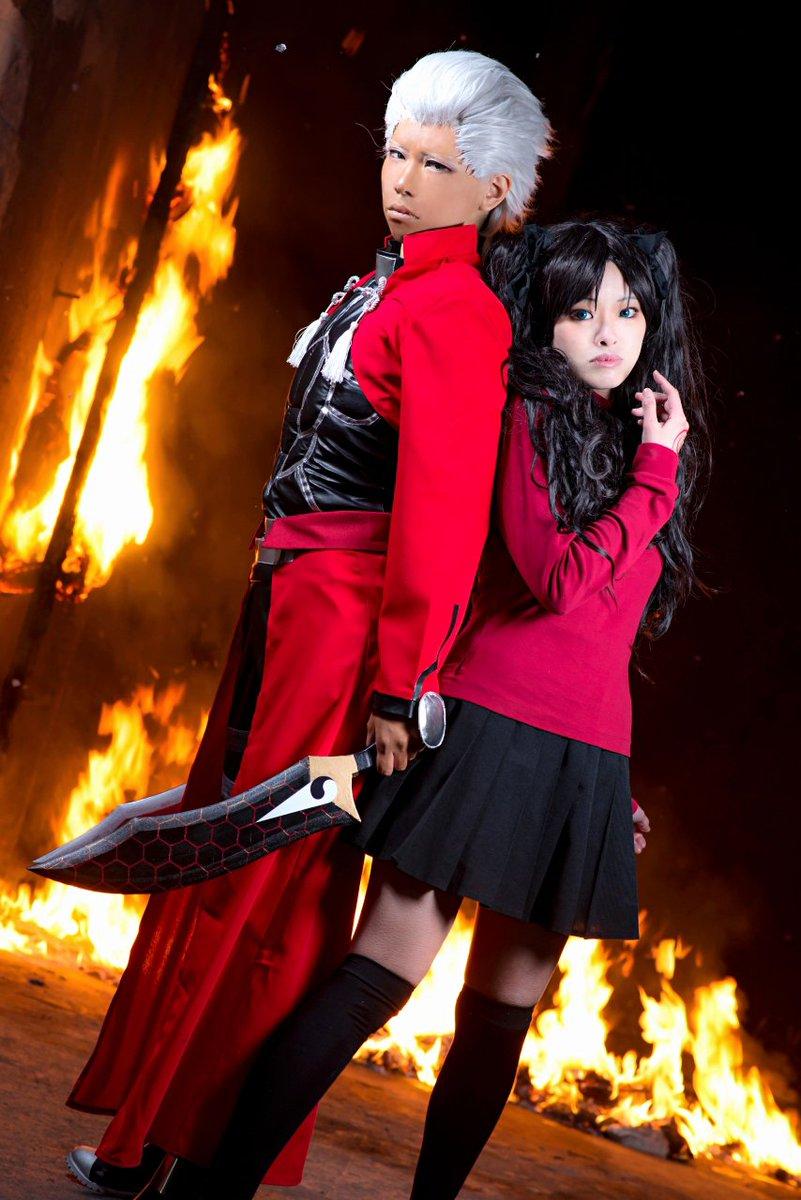 【コス写真】Fate/stay night  1,2,3枚目 アーチャー組で炎撮影4枚目 血糊(ケチャップではない)アー