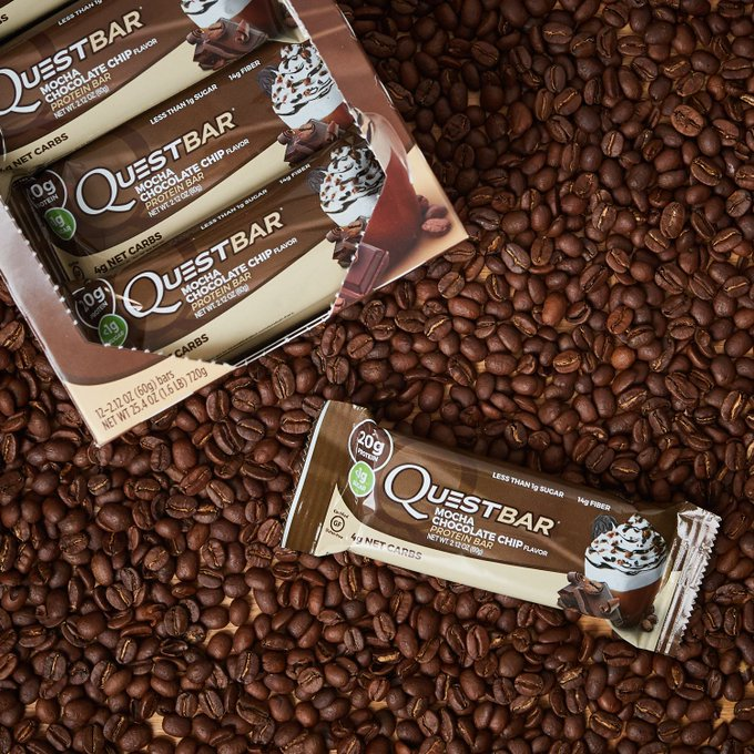 💪☕️ #MOCHAMADNESS #GIVEAWAY! ☕️💪  RT for chance to win a box of Mocha Chocolate Chip Quest Bars!   Must be following @QuestNutrition to win.