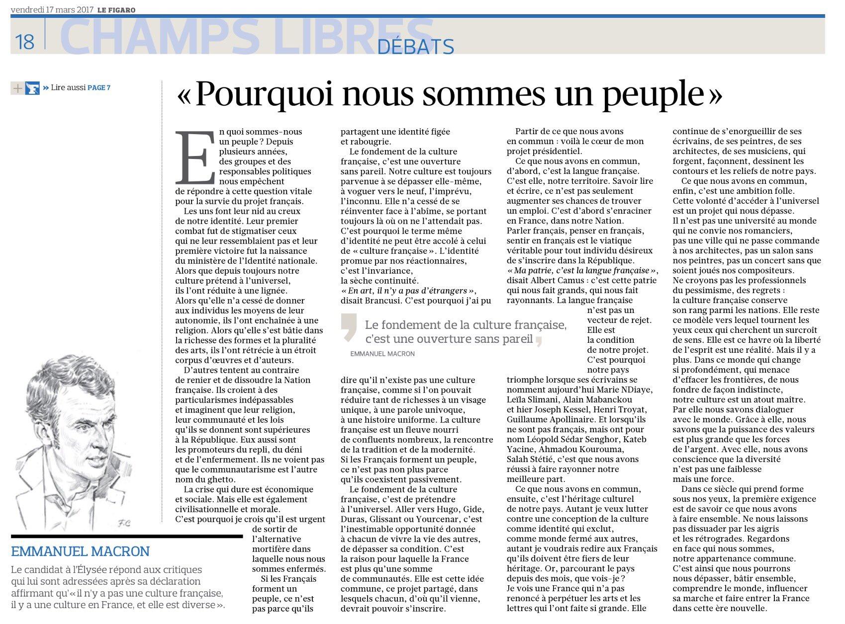 'Pourquoi nous sommes un peuple' (par @EmmanuelMacron, @enmarchefr) (v/@Le_Figaro) #Macron #EnMarche https://t.co/itEfPmMjhN