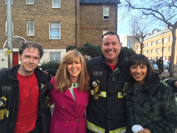 Our @FireLambeth crews met Good Morning Britain's @kategarraway &  aft@ranvir01er we dealt with ITV Studio fire  las#OnThisDayt year