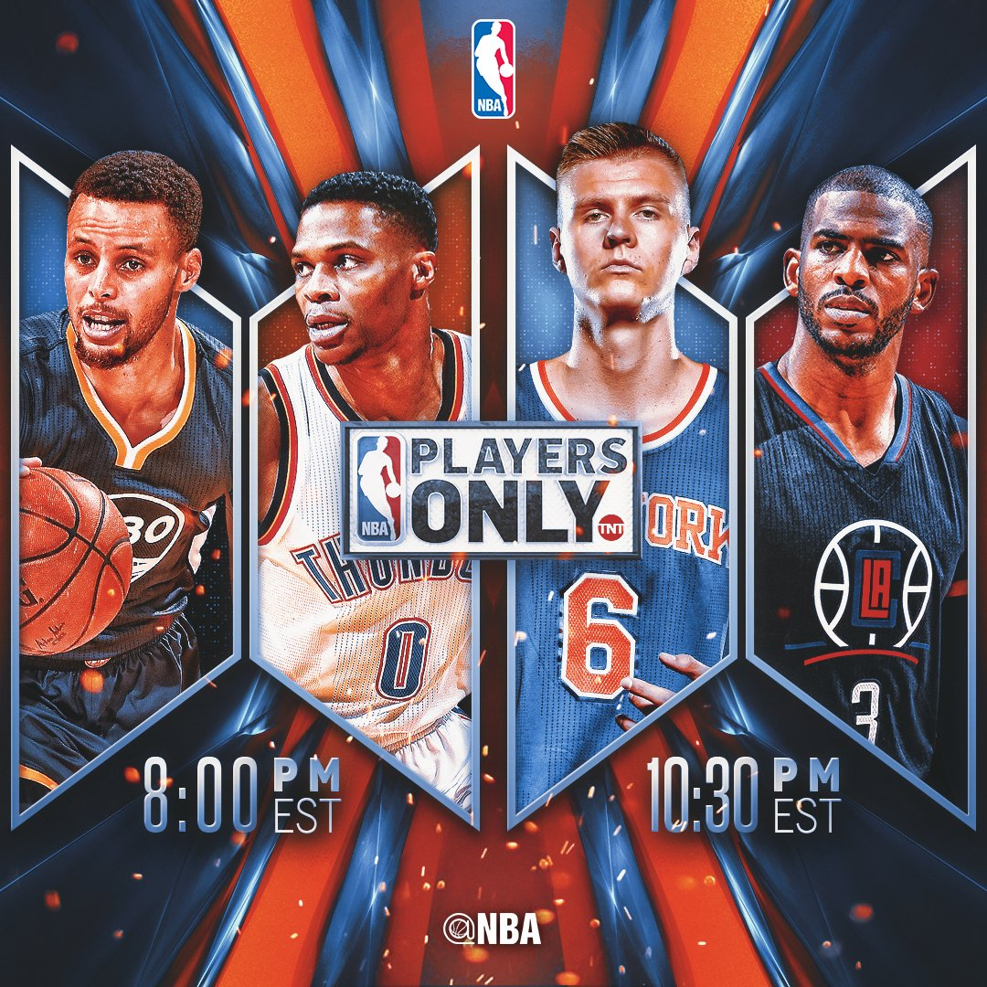Tonight's #PlayersOnly on TNT action...  8pm/et: @warriors x @okcthunder   10:30pm/et: @nyknicks x @LAClippers https://t.co/qIWgAbMwSW