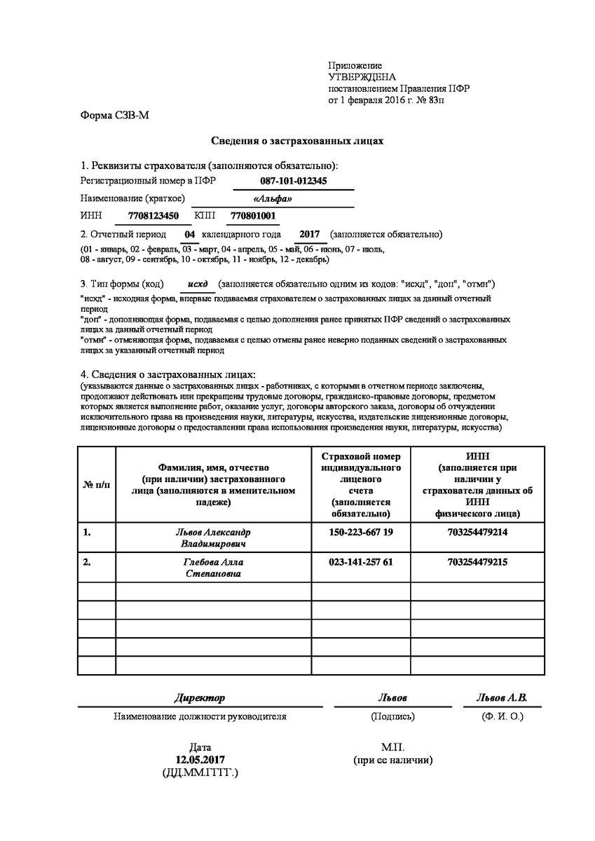 Новая формат сзв м с 1 апреля 2017 года