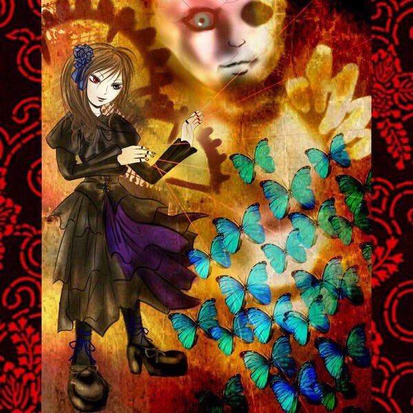 ネットで知り合った友人の妄想肖像画を描きました。←(一度、御本人にお会いした)紅い虹彩を持つオッドアイで黒づくめの美少女
