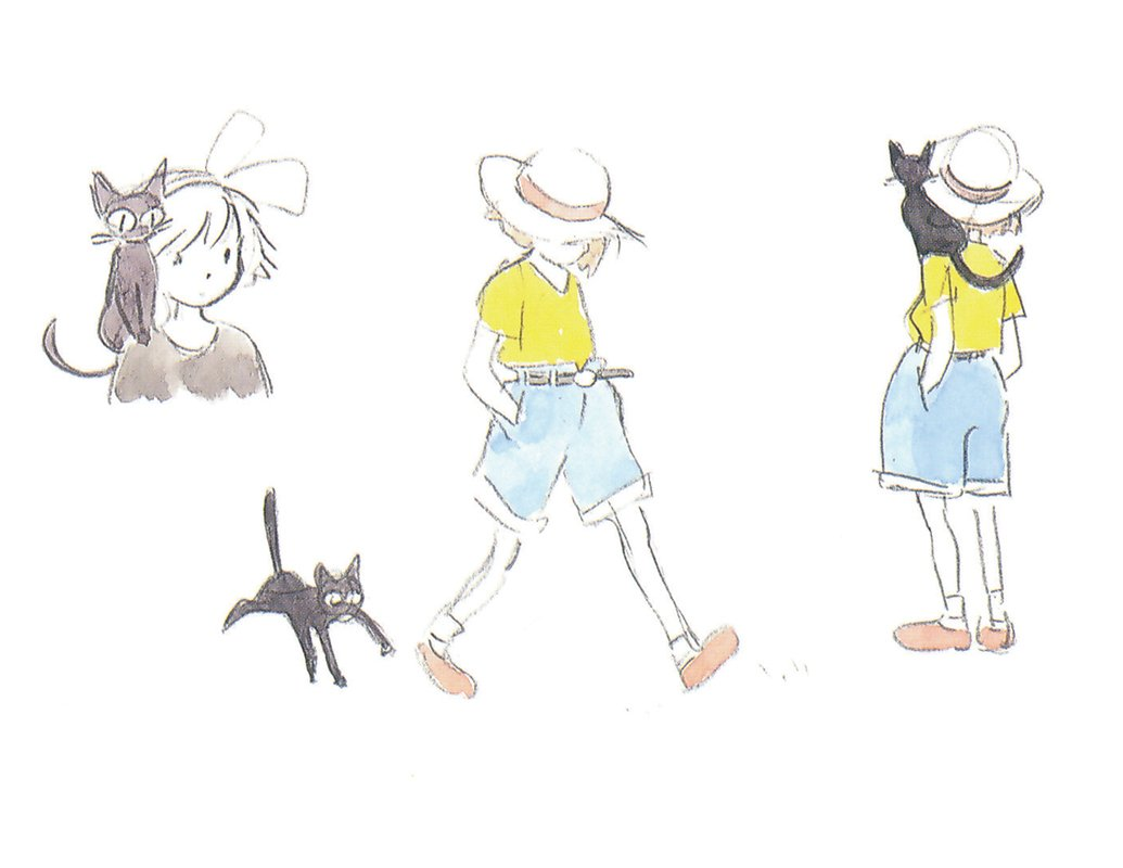 Hayao Miyazaki early designs for Kiki's Delivery Service 魔女の