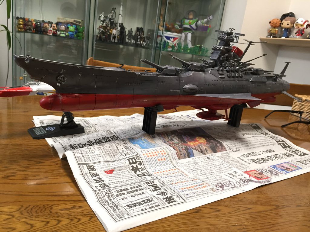 1/500 宇宙戦艦ヤマト2199軽く塗装してみた、フォロワーさんから教えて頂いたおかけでなんとか出来てる、まだまだ手を