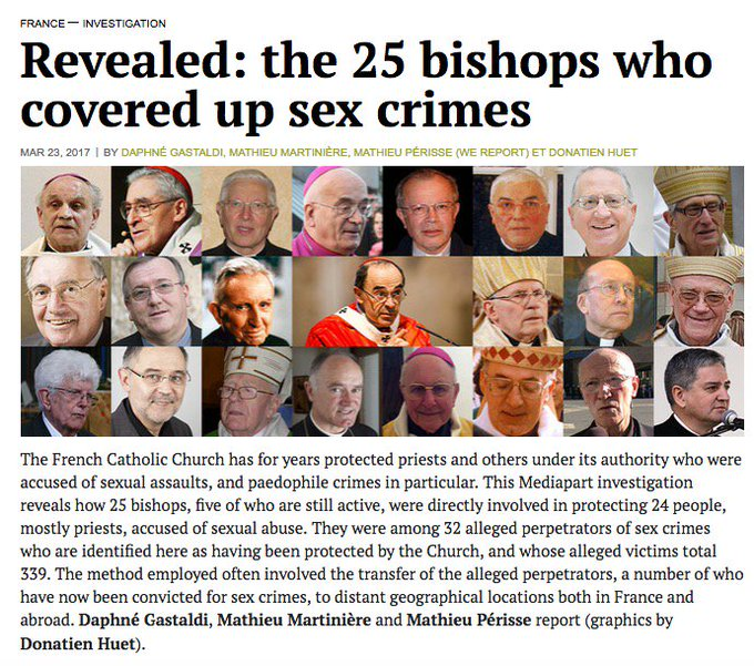[REVEALED] The 25 bishops who covered up sex crimes in France. https://t.co/7mIpiCt1Ir