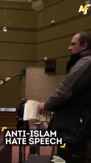 A man tore up a Quran and yelled hate speech at a school board meeting.