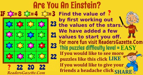 A #Puzzle #Game: Can you work out the value of ? https://t.co/uoAJPQqJTx #authors #brainteasers 3 https://t.co/ZfoEF7cQCf