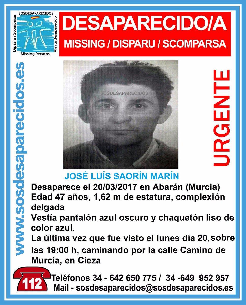 #Colabora Este es José Luis y ha #desaparecido en Abarán #Murcia Si lo ves llámanos ☎062 ☎112 Tu RT puede ayudarle