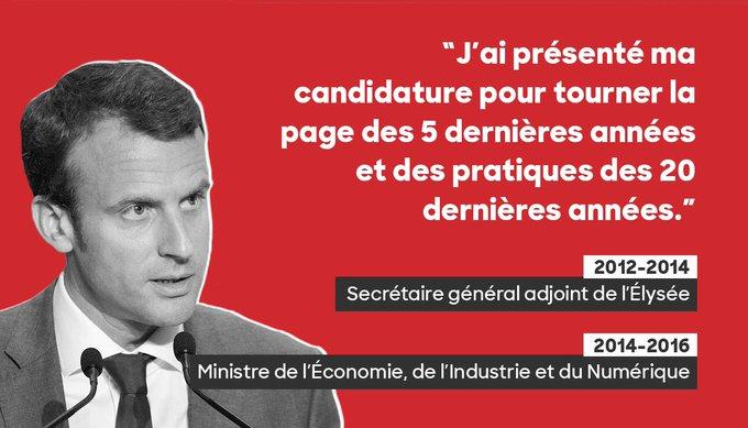 #Macron veut tourner la page de 5 ans de socialisme dont il a été un des principaux acteurs. Heureusement que le ridicule ne tue pas...
