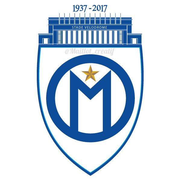 [Créa] Logo pour les 80 ans du Vélodrome, utilisation du logo de 1930 + la façade d'époque. La forme d'une amphore grec. #OM