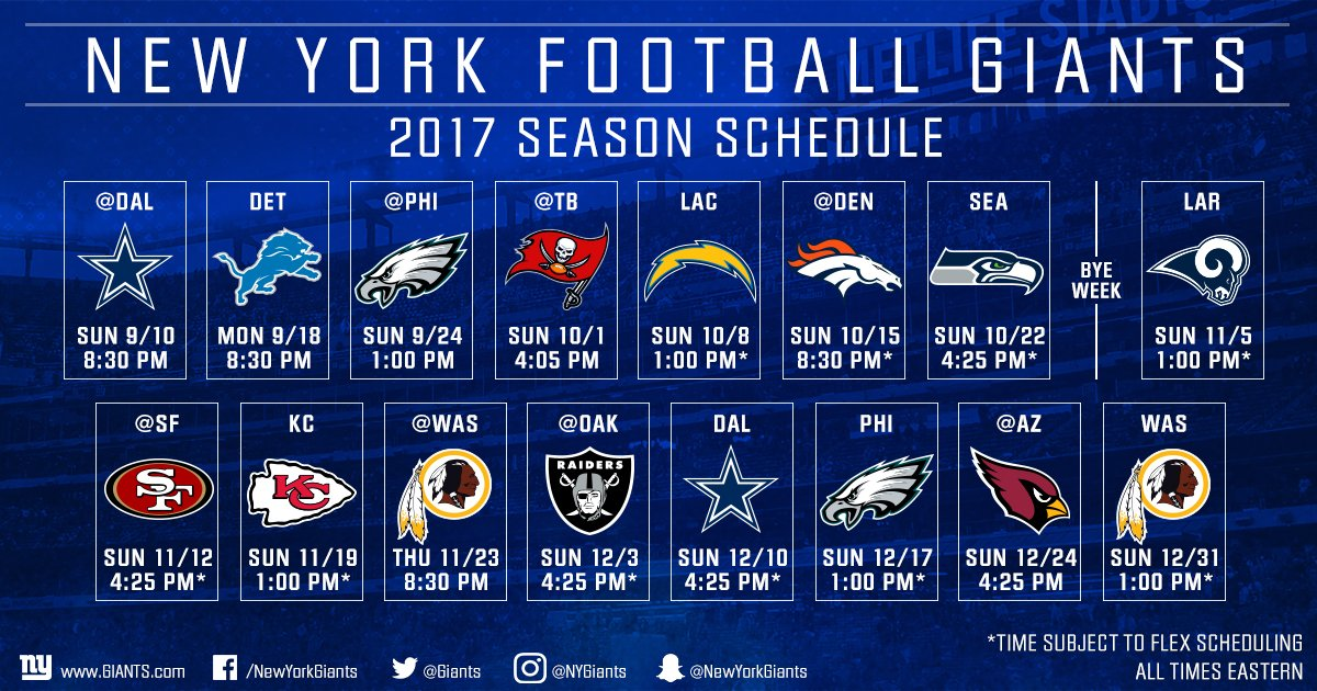 Your 2017 #NYGiants schedule! 143 days until Big Blue takes on the Cowboys! ��  DETAILS: https://t.co/wevChyvi6P https://t.co/uu6Gpyz9zT