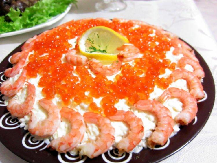 Салат из креветок и красной икры рецепт с