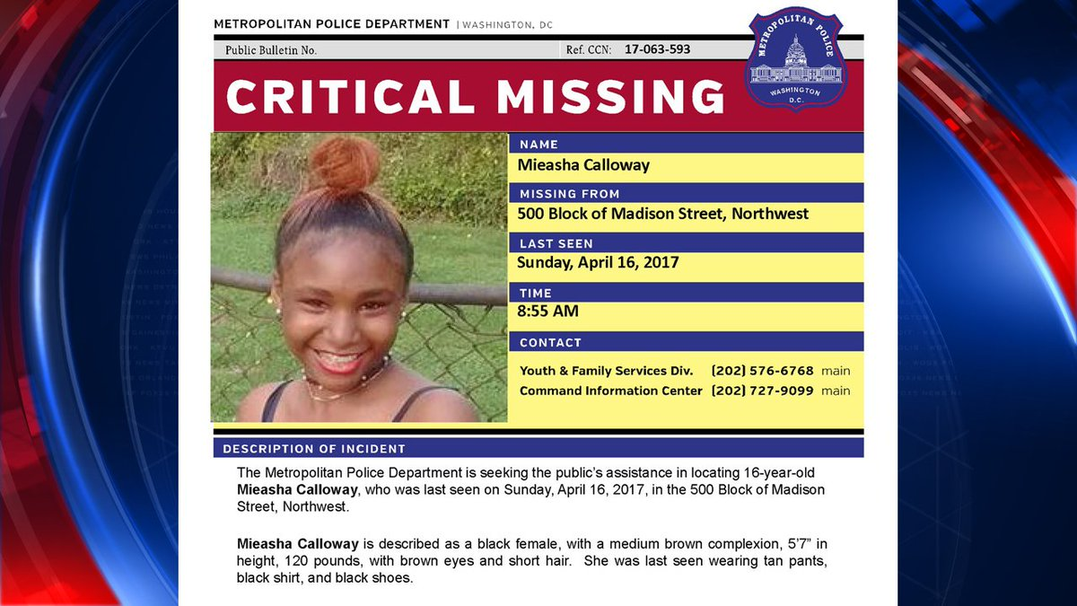 PLEASE RT Police searching for 16-year-old DC girl reported missing #fox5dc