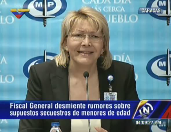 VTVCANAL8 (@VTVcanal8): [AHORA] Fiscal @lortegadiaz sobre campaña de secuestro de niñ@s: Es incierta es, para crear caos en el país http://t.co/AVCIvrlgdO