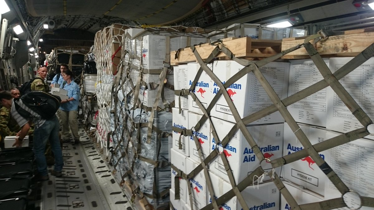Thanks to @Aus_AirForce, these supplies are in the air with the @savechildrenaus team, en route to #Vanuatu #TCPam http://t.co/rDmyADIgFv