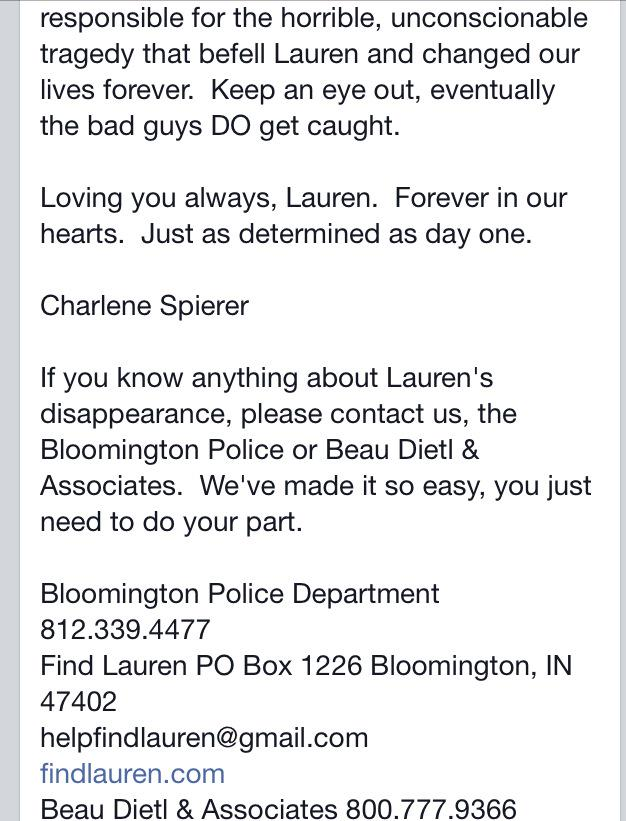 Message from @CharleneSpierer. #FindLauren http://t.co/IQyzmCwb8P