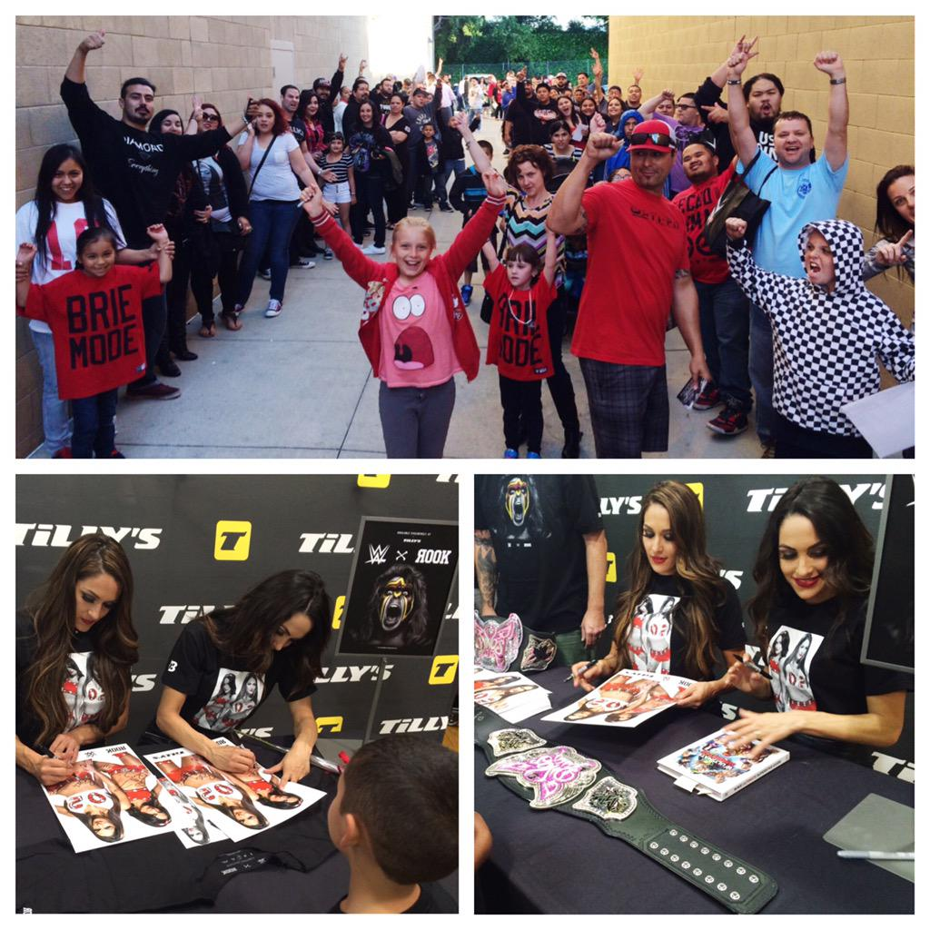 They're here! Wow, what an insane turnout for tonight's signing with @BellaTwins in San Jose, CA. #ROOKxWWE #Tillys http://t.co/UZvkK09yeg