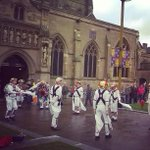 Morris dancers entertaining those in line waiting to see the tomb today #richardreburied http://t.co/l3gSbBLB9g