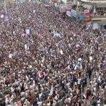 Tens of thousands protest against Saudi-led terror strikes against the people of #Yemen #Sanaa #SayNoToSaudi http://t.co/rj1YYNtsqe