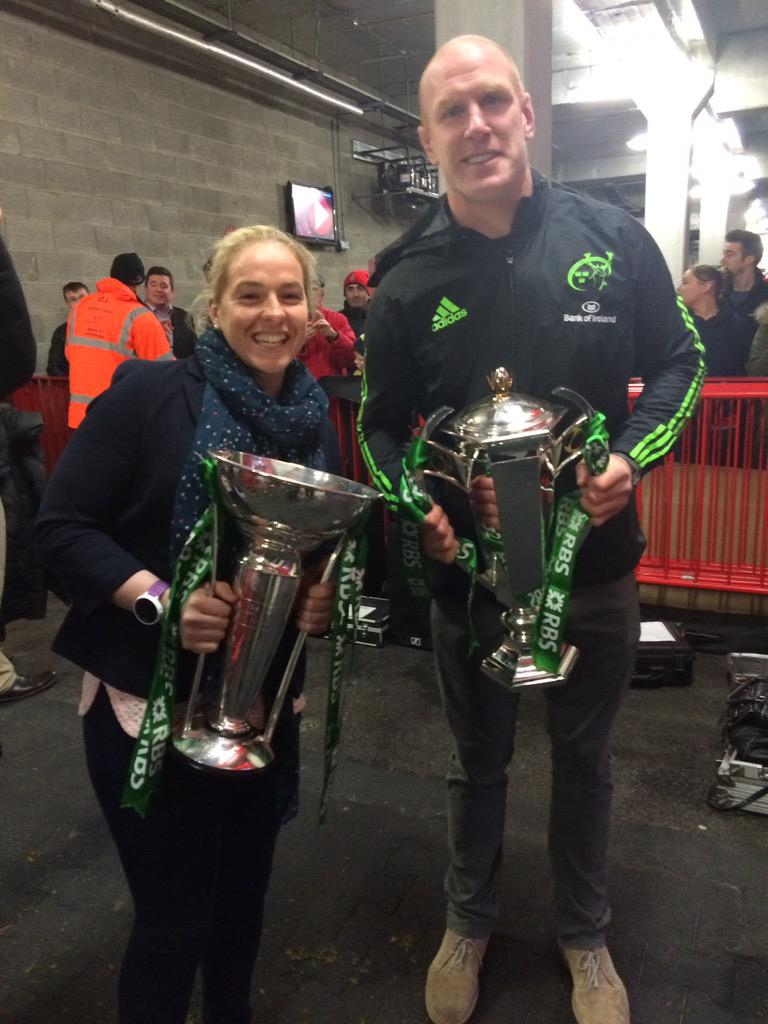 What a moment - how proud are we?? Both #6Nations winning captains & trophies @thomondstadium #MunVCon http://t.co/X5Wmolvbxo