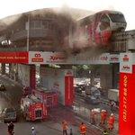 Salah sebuah monorel dia perhentian titiwangsa sedang terbakar . Pihak bomba sedang berusaha memadamkan api http://t.co/MmHquE88Y0