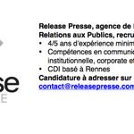 [#Emploi] Release Presse recrute un(e) consultant(e) #RP #Com à #Rennes . Vos RT seront appréciés :-) #Job #ComPol http://t.co/YzFy5beTzS