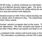 Shots were fired when vehicle failed to stop, #NSA says, after 1 killed & 2 injured at HQ http://t.co/VWptXkzsHb