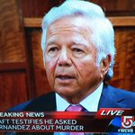 Robert Kraft is testifying in the Aaron Hernandez trial right now and looks wicked nervous. Damn. http://t.co/ZBEimftj2L