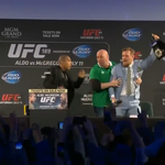 VIDEO: Conor McGregor steals title belt from Jose Aldo at Dublin press conference http://t.co/o5PKXWCpYG http://t.co/YcEUlyUdJU